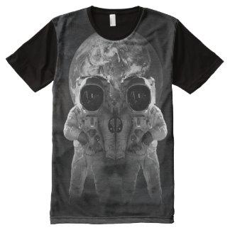 宇宙飛行士のスカルの地球の宇宙の錯覚のTシャツ オールオーバープリントT シャツ