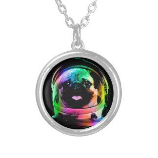 宇宙飛行士のパグ-銀河系のパグ-パグの宇宙-パグの芸術 シルバープレートネックレス