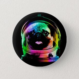 宇宙飛行士のパグ-銀河系のパグ-パグの宇宙-パグの芸術 5.7CM 丸型バッジ