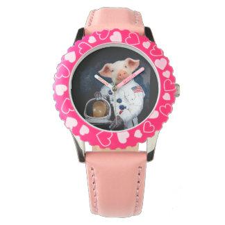 宇宙飛行士のブタ-宇宙の宇宙飛行士 腕時計
