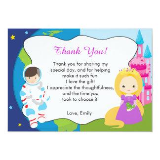 宇宙飛行士のプリンセスのサンキューカードの女の子の誕生日 カード