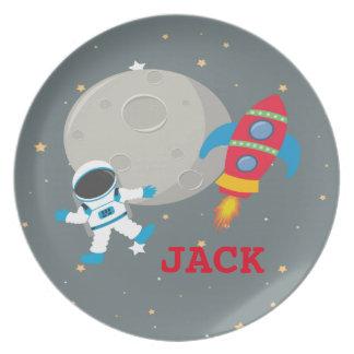 宇宙飛行士の子供のメラミンプレート プレート