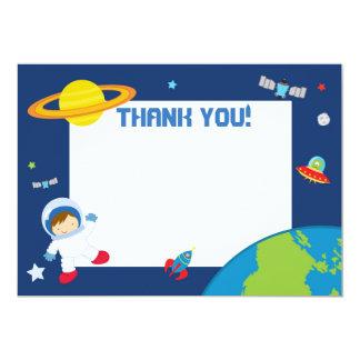 宇宙飛行士の宇宙のサンキューカードのブランク カード