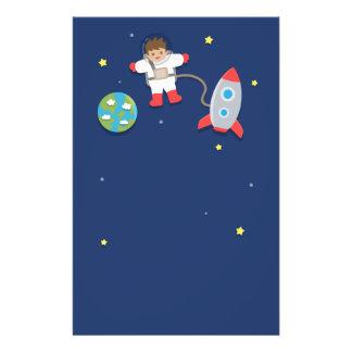 宇宙飛行士、ロケットの船、男の子のための宇宙、 便箋