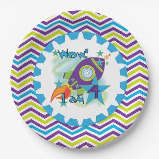 宇宙飛行船の第4誕生日の紙皿 ペーパープレート