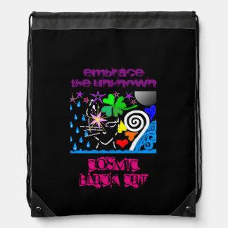 宇宙黒猫のドローストリングのバックパック ナップサック