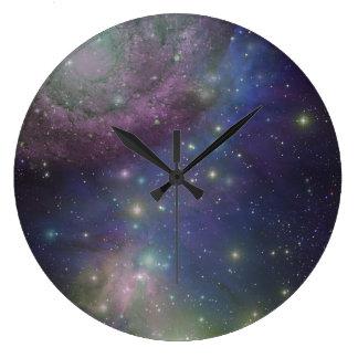 宇宙、星、銀河系および星雲 ラージ壁時計