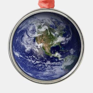 宇宙-西半球からの地球 メタルオーナメント