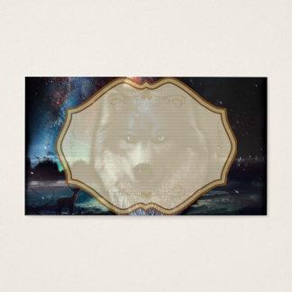 宇宙、青いオオカミの絵画のオオカミの顔 名刺