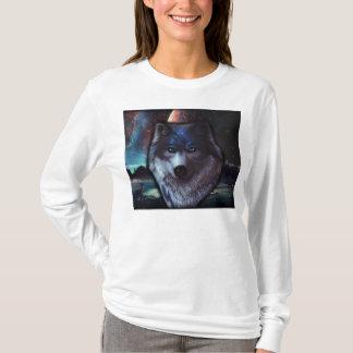宇宙、青いオオカミの絵画のオオカミの顔 Tシャツ