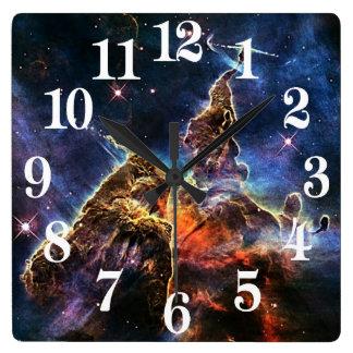 宇宙NASAの神秘的な山 スクエア壁時計