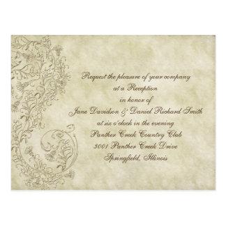 安価なヴィンテージのダマスク織の結婚披露宴カード ポストカード