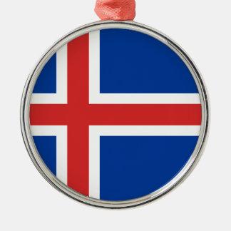 安価! アイスランドの旗 シルバーカラー丸型オーナメント