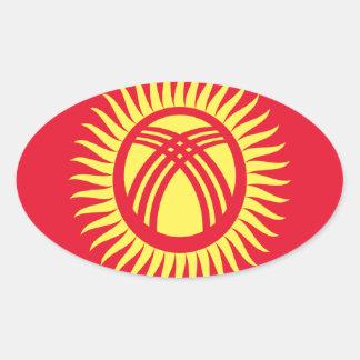 安価! キルギスタンの旗 楕円形シール