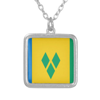 安価! セントビンセント・グレナディン諸島の旗 シルバープレートネックレス