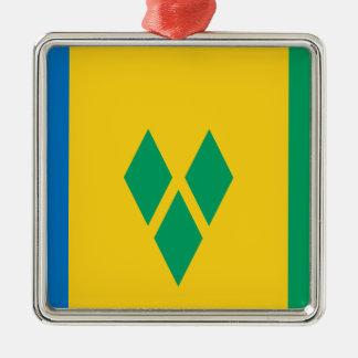 安価! セントビンセント・グレナディン諸島の旗 メタルオーナメント