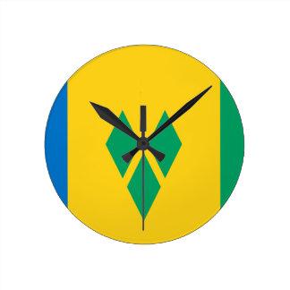 安価! セントビンセント・グレナディン諸島の旗 ラウンド壁時計
