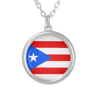 安価! プエルトリコの旗 シルバープレートネックレス