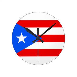 安価! プエルトリコの旗 ラウンド壁時計