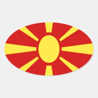 安価! マケドニアの旗 楕円形シール