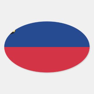 安価! リヒテンシュタインの旗 楕円形シール