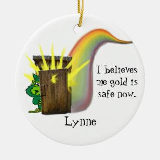 安全な小妖精の金ゴールド、 セラミックオーナメント