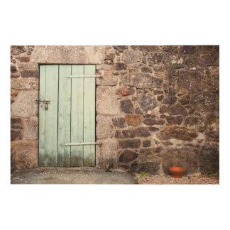 安定したドアおよび石塀の木製の壁の芸術 ウッドウォールアート