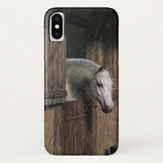 安定したドアの灰色の馬 iPhone X ケース