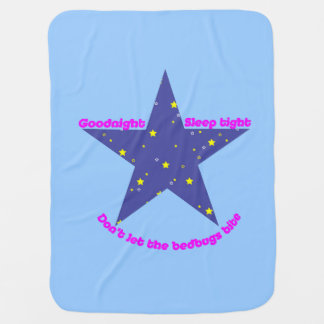 安眠の堅い星-青い背景 ベビー ブランケット