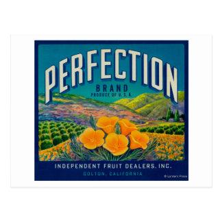 完全さオレンジLabelColton、カリフォルニア ポストカード