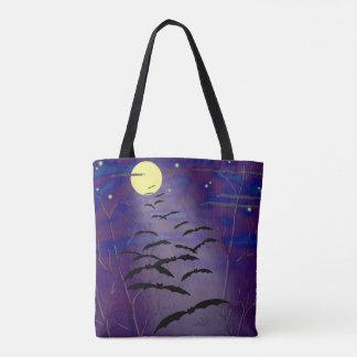 完全で黄色い月およびこうもりとの魔法をかける時間 トートバッグ