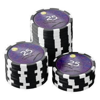 完全で黄色い月およびこうもりとの魔法をかける時間 ポーカーチップ