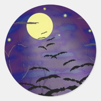 完全で黄色い月およびこうもりとの魔法をかける時間 ラウンドシール