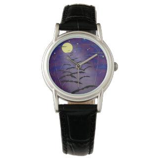 完全で黄色い月およびこうもりとの魔法をかける時間 腕時計