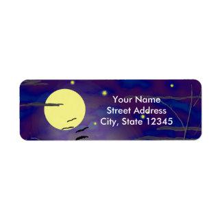 完全で黄色い月およびこうもりとの魔法をかける時間 返信用宛名ラベル