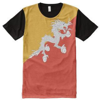 完全なブータンの旗 オールオーバープリントT シャツ