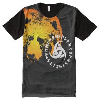 完全なプリント北欧くま2のワイシャツ オールオーバープリントT シャツ