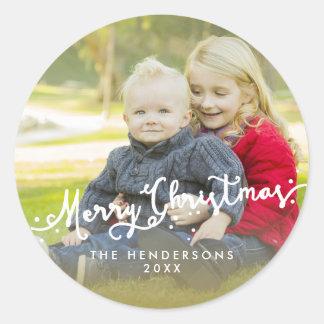完全な写真によって傾けられるメリークリスマスの休日のステッカー ラウンドシール