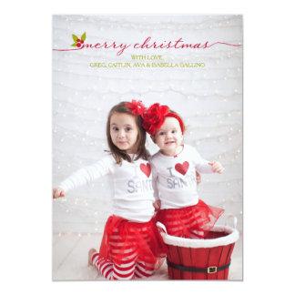 完全な写真のメリークリスマスのヒイラギおよび果実 12.7 X 17.8 インビテーションカード