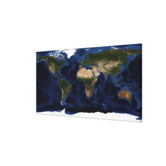 完全な地球の地勢及び水深測量術の陰影 キャンバスプリント
