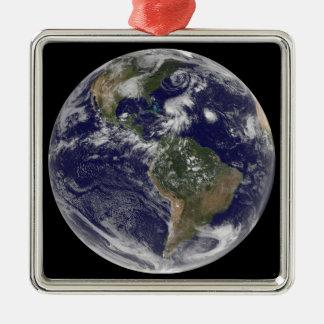 完全な地球の眺めおよび4つはシステムに押しかけます メタルオーナメント