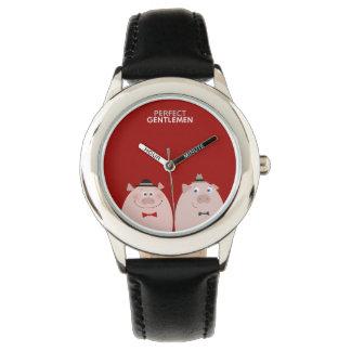 完全な紳士のおもしろいでスタイリッシュでエレガントなブタのカッコいい 腕時計