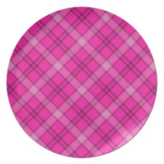 完全にピンクの格子縞のプレート プレート