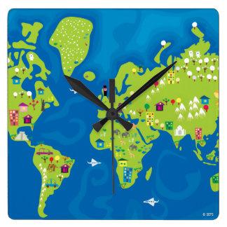 完全に世界中で スクエア壁時計