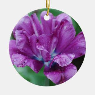 完全に紫色のオウムのチューリップ セラミックオーナメント
