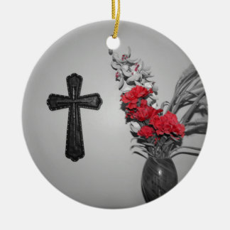 宗教の十字の花 セラミックオーナメント