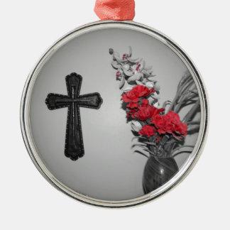 宗教の十字の花 メタルオーナメント