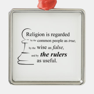 宗教は有用です シルバーカラー正方形オーナメント