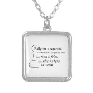 宗教は有用です シルバープレートネックレス