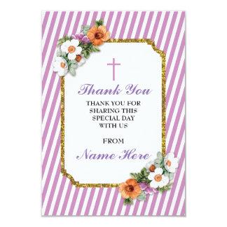 宗教ピンクのストライプの花柄カードありがとう カード